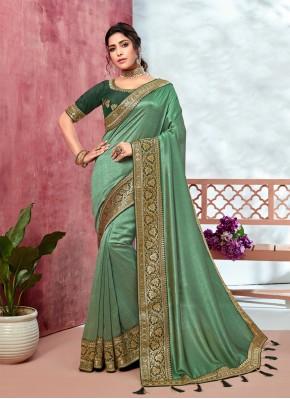 Nice Green Ceremonial Trendy Saree