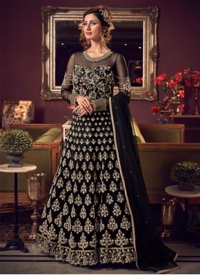 Nice Resham Black Net Trendy Long Length Anarkali Suit