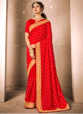 Nice Silk Red Traditional Designer Saree