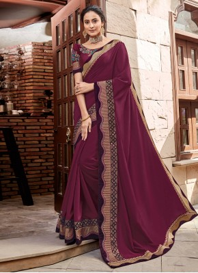 Noble Embroidered Georgette Satin Classic Designer Saree