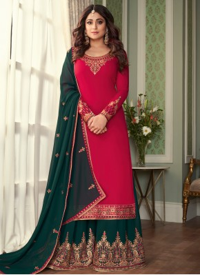 Noble Embroidered Hot Pink Shamita Shetty Designer Palazzo Salwar Suit