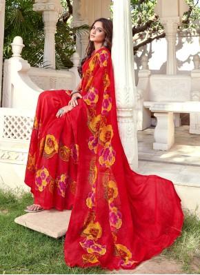 Observable Faux Chiffon Printed Multi Colour Printed Saree