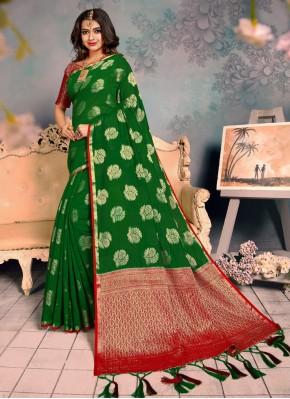 Observable Green Weaving Classic Saree