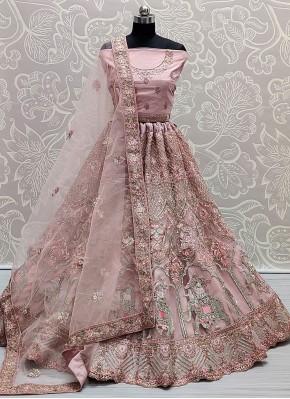 Observable Pink Embroidered Net Lehenga Choli