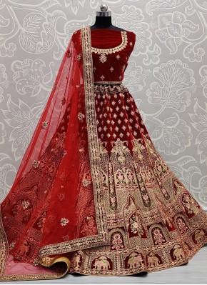 Observable Red Engagement Lehenga Choli
