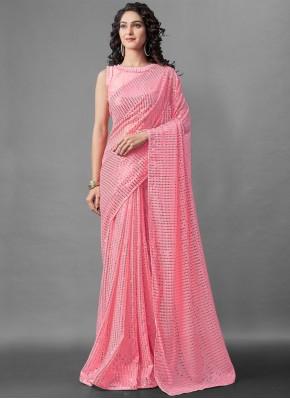 Observable Sequins Pink Faux Georgette Designer Saree