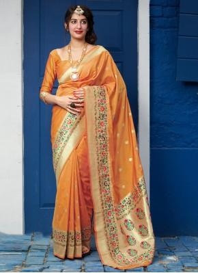 Observable Weaving Orange Silk Designer Traditional Saree