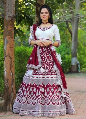 Off White and Wine Chickenkari work Georgette Bollywood Style Lehenga Choli