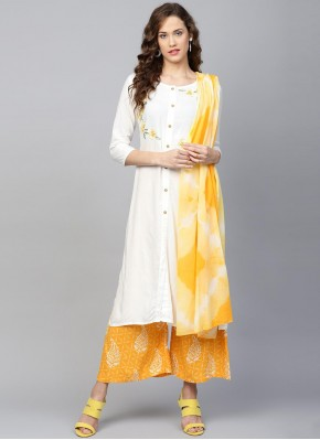 Off White and Yellow Rayon Printed Readymade Suit