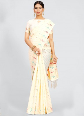 Off White Art Silk Traditional Designer Saree