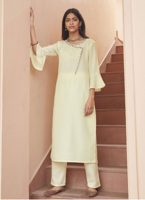 Off White Fancy Fabric Embroidered Party Wear Kurti