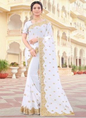 Off White Faux Georgette Designer Traditional Saree