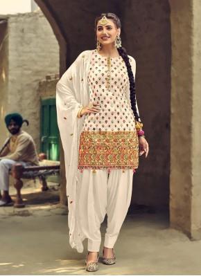 Off White Faux Georgette Festival Patiala Salwar Suit