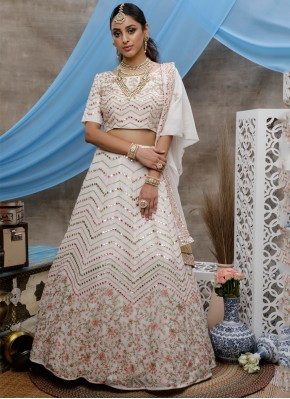 Off White Georgette Reception Bollywood Lehenga Choli
