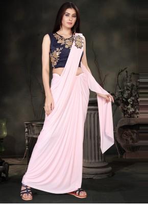 Off White Lycra Classic Designer Saree