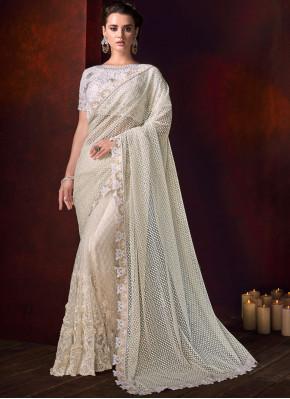Off White Net Bridal Classic Designer Saree