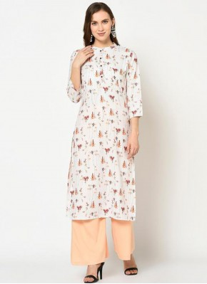 Off White Polyester Printed Party Wear Kurti