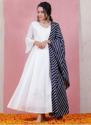 Off White Printed Festival Anarkali Suit