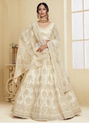 Off White Sangeet Net Lehenga Choli