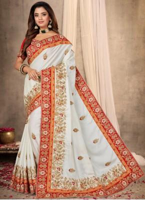 Off White Satin Designer Traditional Saree