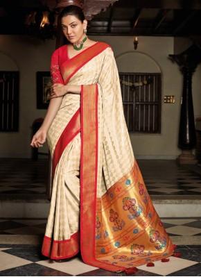 Off White Silk Festival Traditional Designer Saree
