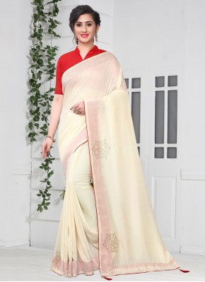Off White Stone Party Traditional Saree