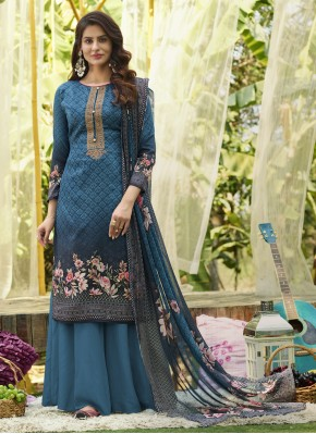 Opulent Cotton Blue Designer Palazzo Salwar Kameez