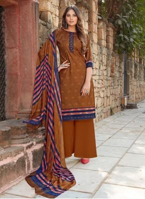Opulent Cotton Printed Brown Designer Palazzo Suit