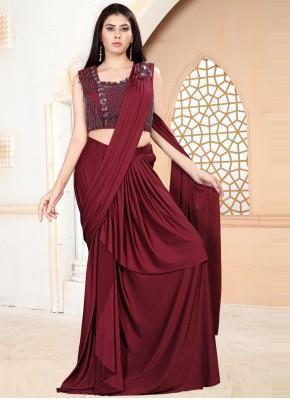 Opulent Lycra Maroon Classic Designer Saree