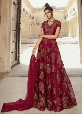 Opulent Net Sequins Designer Gown