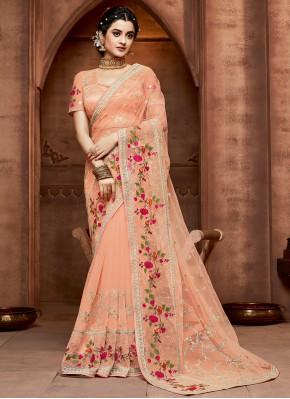 Opulent Peach Designer Saree