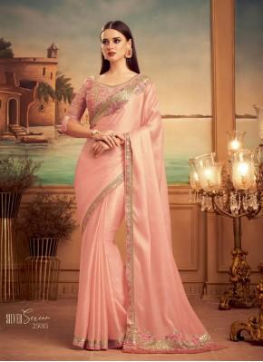 Opulent Pink Silk Designer Traditional Saree