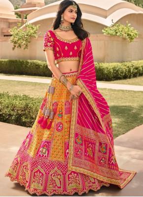 Orange and Pink Banarasi Silk Zari A Line Lehenga Choli