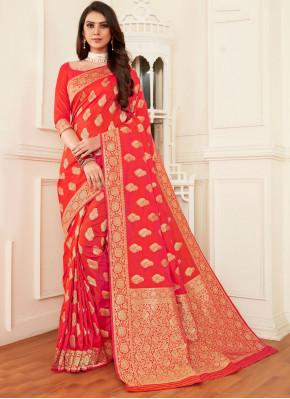 Orange and Pink Reception Banarasi Silk Half N Half  Saree