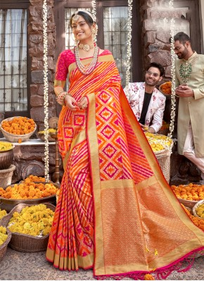 Orange and Rani Weaving Sangeet Designer Saree