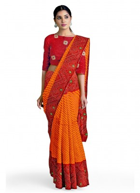 Orange and Red Abstract Print Casual Casual Saree