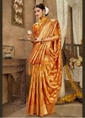 Orange Banarasi Silk Mehndi Designer Traditional Saree