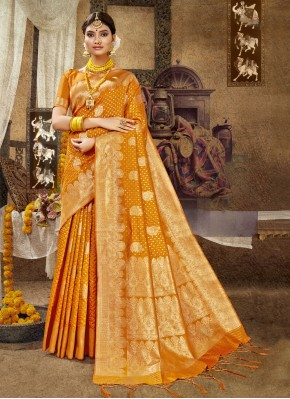 Orange Banarasi Silk Traditional Designer Saree