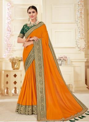 Orange Ceremonial Classic Designer Saree