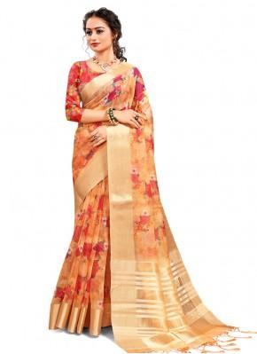 Orange Digital Print Printed Saree
