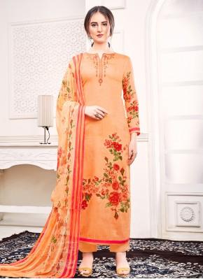 Orange Embroidered Trendy Salwar Kameez