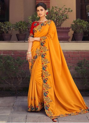 Orange Fancy Fabric Embroidered Designer Saree