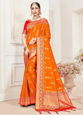 Orange Festival Banarasi Silk Classic Saree