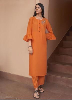 Orange Festival Fancy Fabric Party Wear Kurti