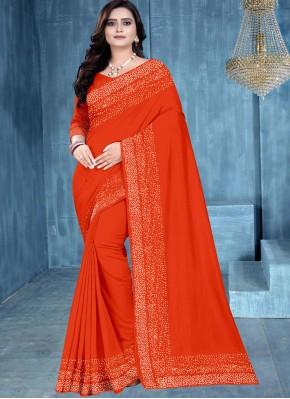 Orange Festival Silk Traditional Saree