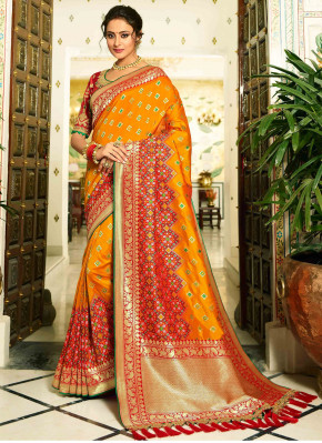 Orange Gold Banarasi Silk Traditional Woven Saree