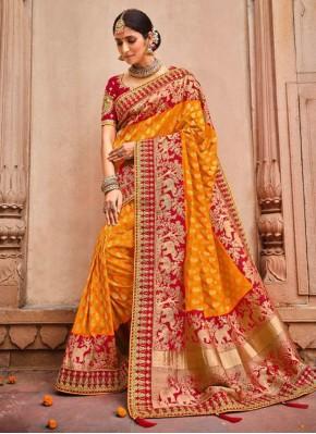 Orange Mehndi Classic Designer Saree