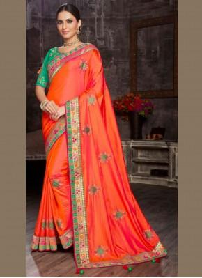 Orange Patch Border Mehndi Designer Saree