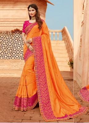 Orange Patch Border Silk Classic Designer Saree