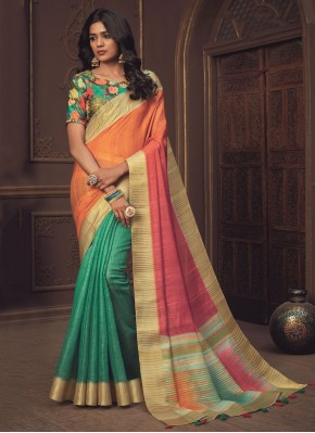 Orange, Pink and Rama Silk Designer Half N Half Saree